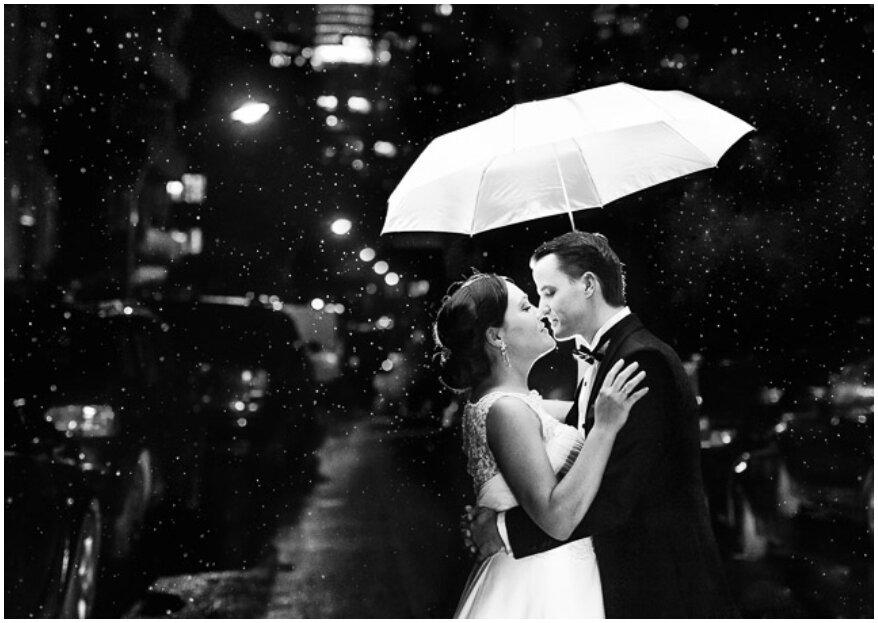 Cómo sortear la lluvia en tu boda y sacarle el mejor provecho, ¡en sólo 6 pasos!